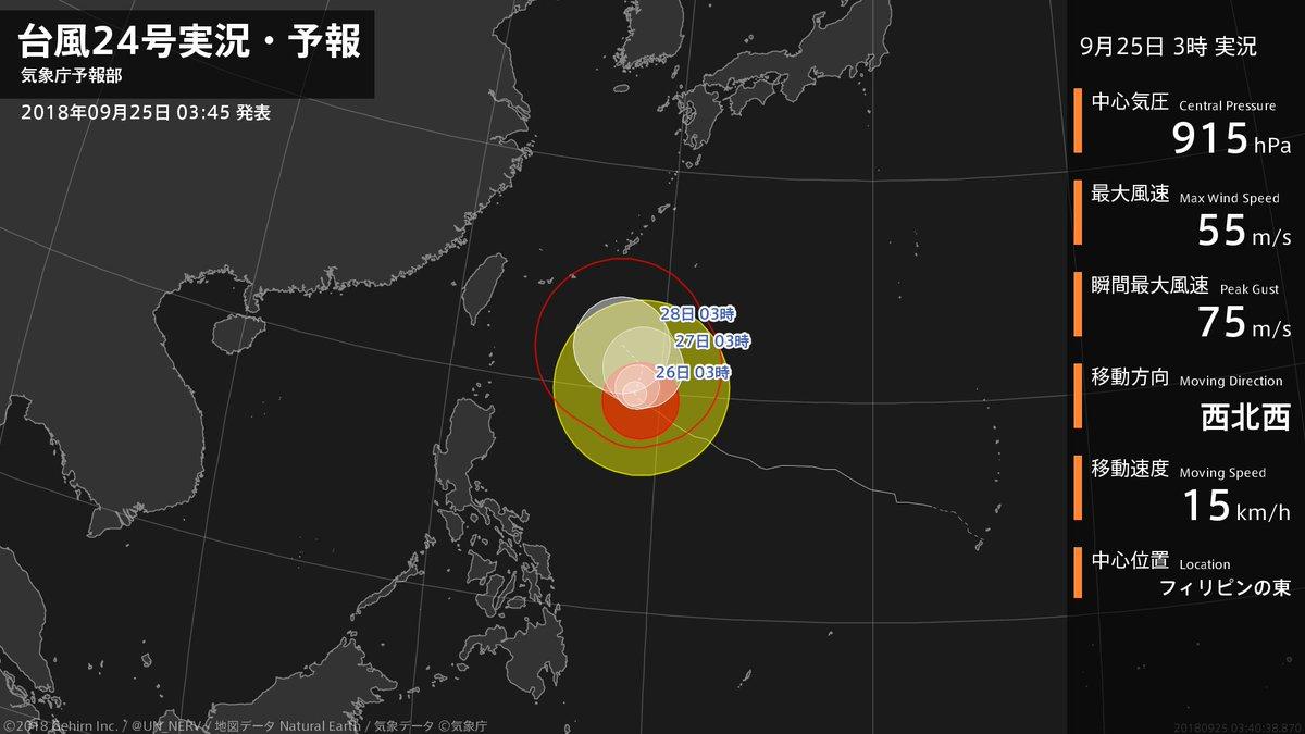【台風24号実況・予報 2018年09月25日 03:40】 猛烈な台風24号(チャーミー)は、フィリピンの東を1時間に15キロの速さで西北西に進んでいます。