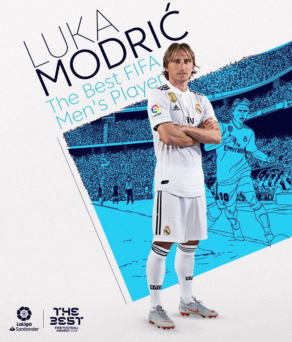 🥇¡@lukamodric10 es THE BEST! 🥇  El jugador del @realmadrid, galardonado con el premio #TheBest FIFA Men's Player.