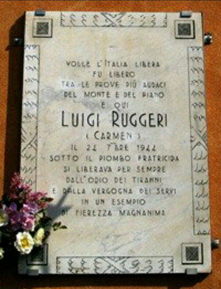 """In memoria di Luigi Ruggeri """"Carmen"""",  valoroso comandante #Partigiano nel piacentino e nel cremonese, catturato dai fascisti a Pozzaglio il 20 settembre 1944, subì, senza cedimento, sevizie e torture dall\"""