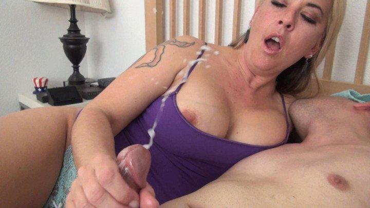 Step mom helps son masturbate