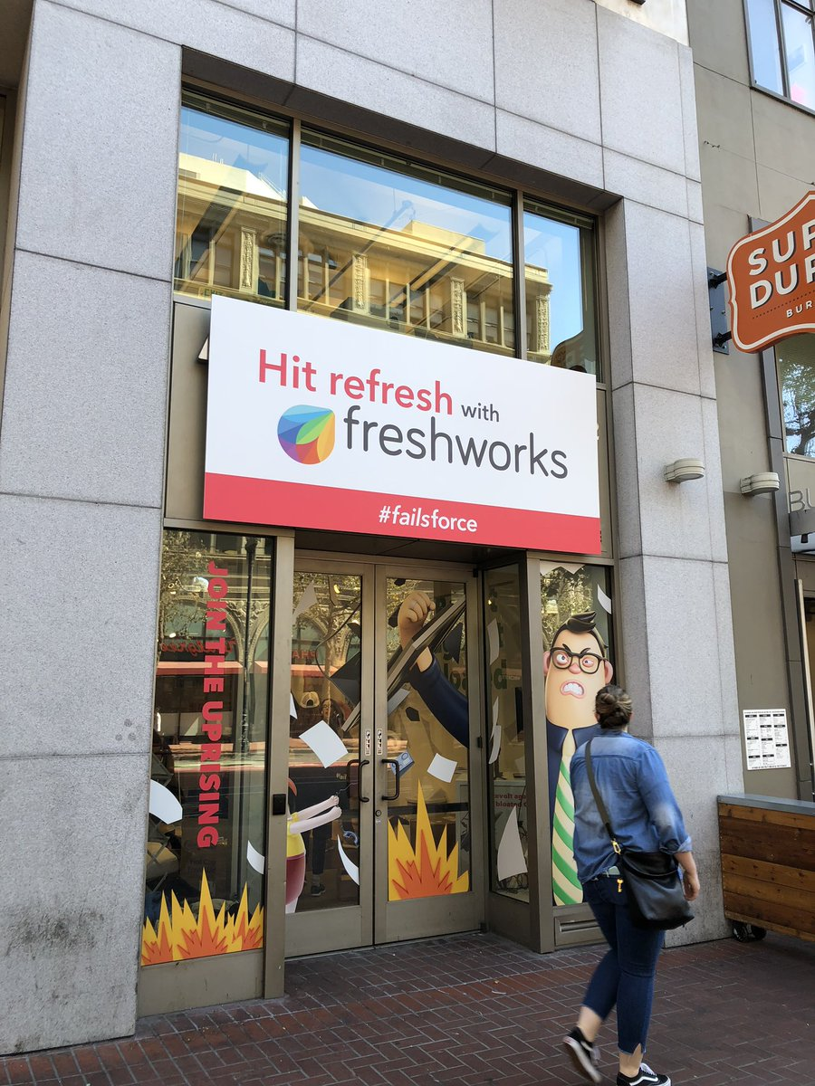 A bit of ambush marketing from #freshworks on the streets of #SanFrancisco in the lead up to #DF18. Interested in the value proposition of the start up store on Market St<br>http://pic.twitter.com/eajIG5ZJp0