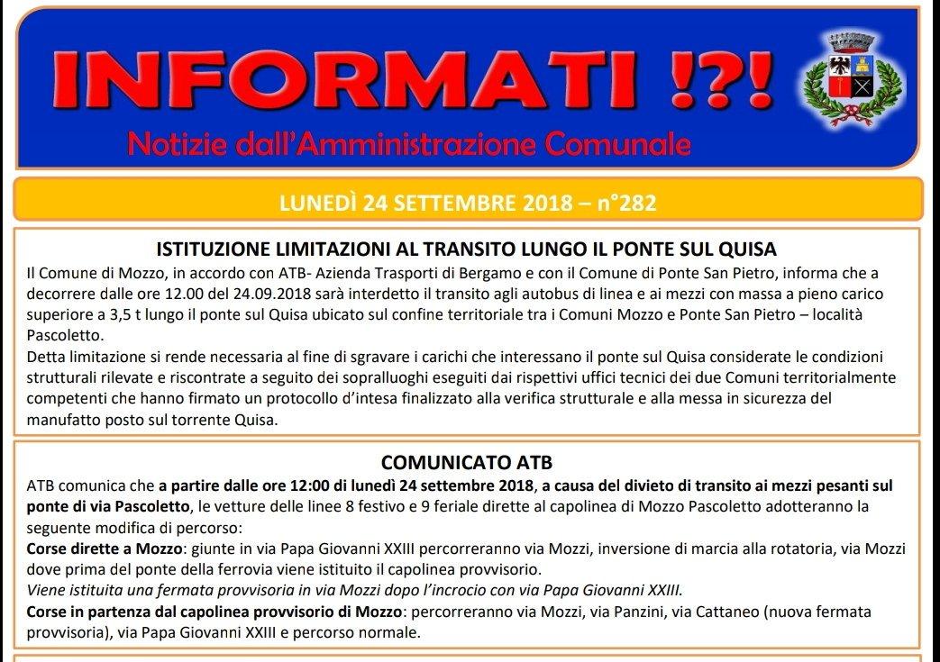 Anche #Mozzo ha il suo ponte chiuso, da oggi. Quante vite hanno salvato i martiri di #Genova?  - Ukustom