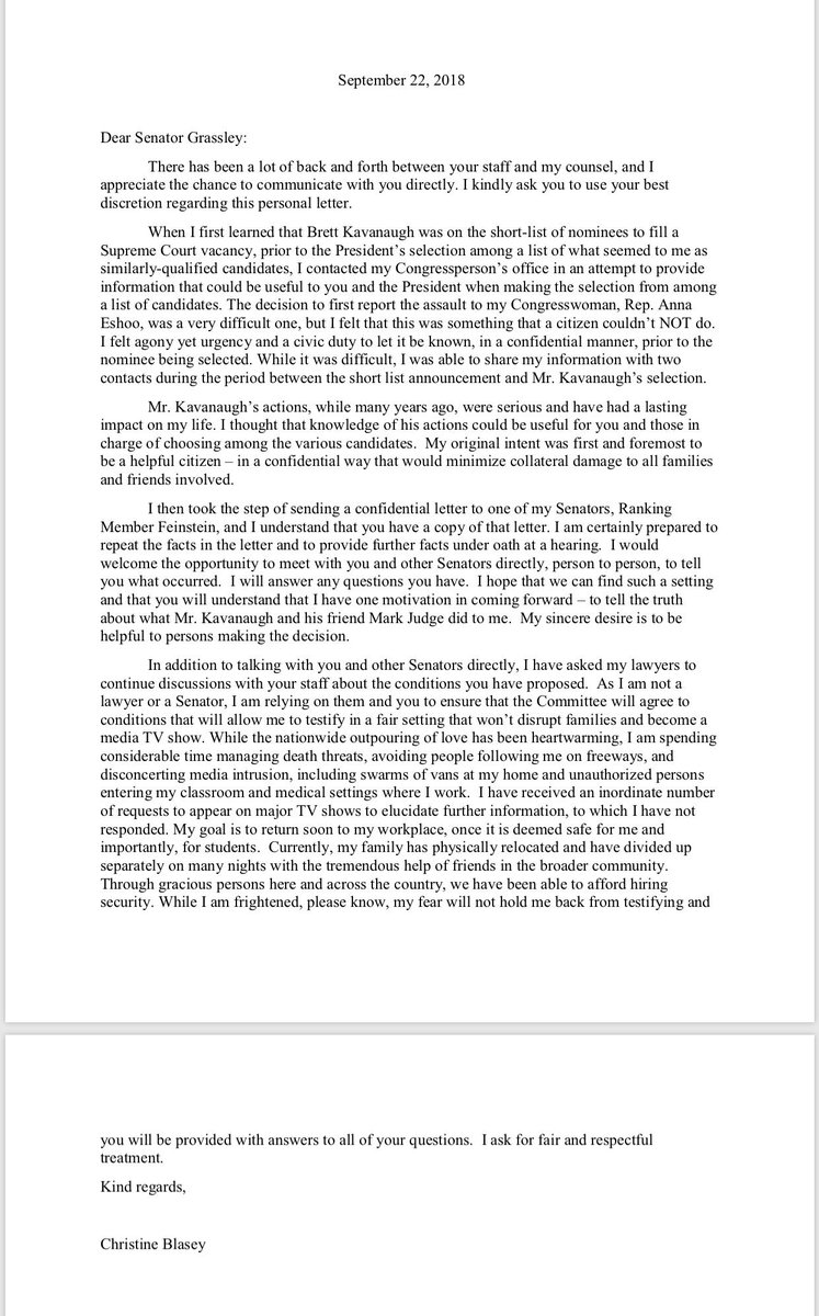 "NEW: Just obtained a copy of Dr. Ford's letter to Chairman Grassley: ""While I am frightened, please know, my fear will not hold me back from testifying..."""