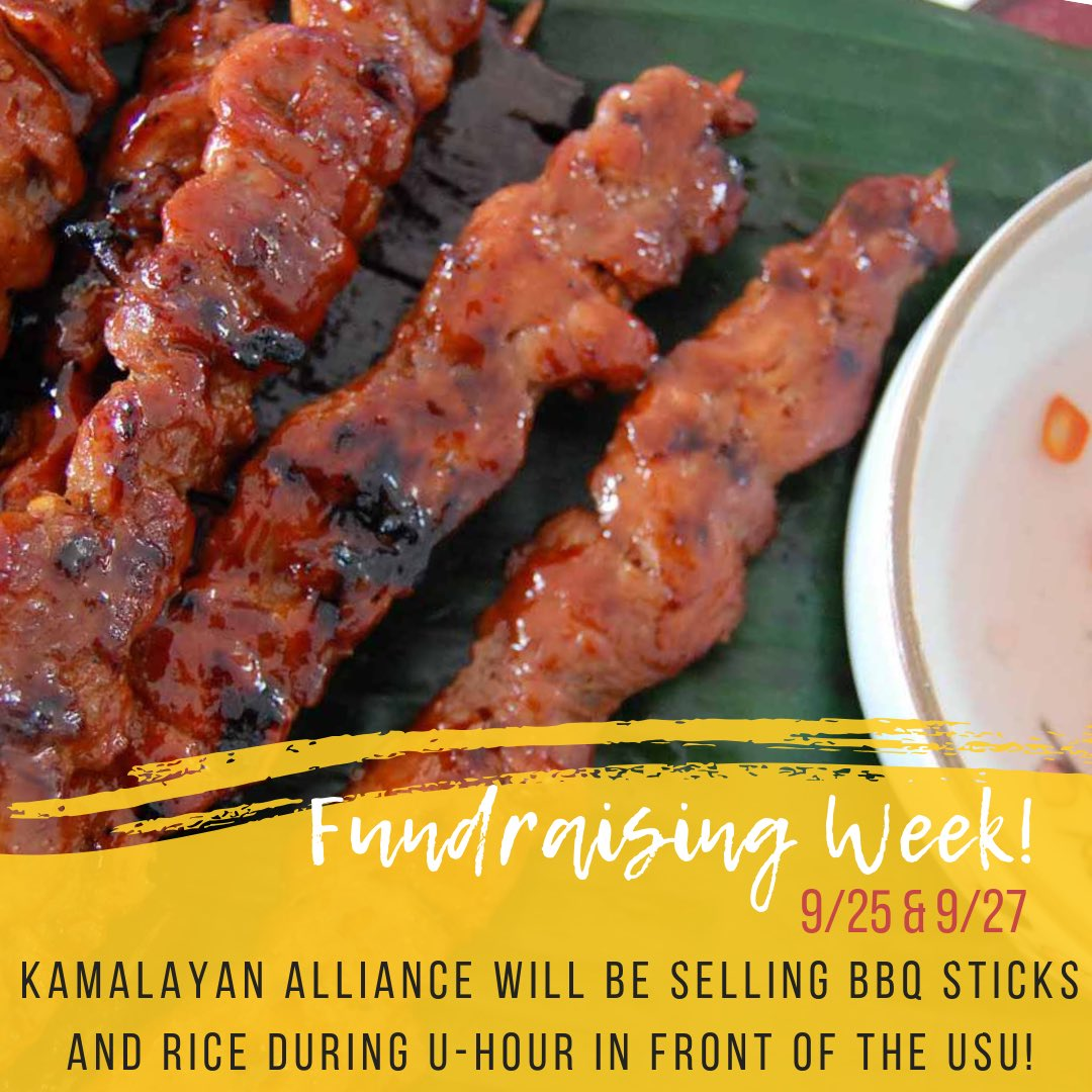 Hello KAsamas! Tomorrow is the start of Fundraising Week and Kamalayan Alliance will be selling BBQ sticks and rice during U-Hour on 9/25 and 9/27 in front of the USU! Come out and support!  <br>http://pic.twitter.com/c6xDz8Sp4j