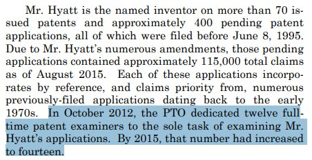 Fun fact in an opinion today from the Federal Circuit: the Patent Office employs 14 examiners full time solely to examine patent applications filed by a single, prolific inventor.  http://www. cafc.uscourts.gov/sites/default/ files/opinions-orders/17-1722.Opinion.9-24-2018.pdf &nbsp; … <br>http://pic.twitter.com/eiVufnrsli