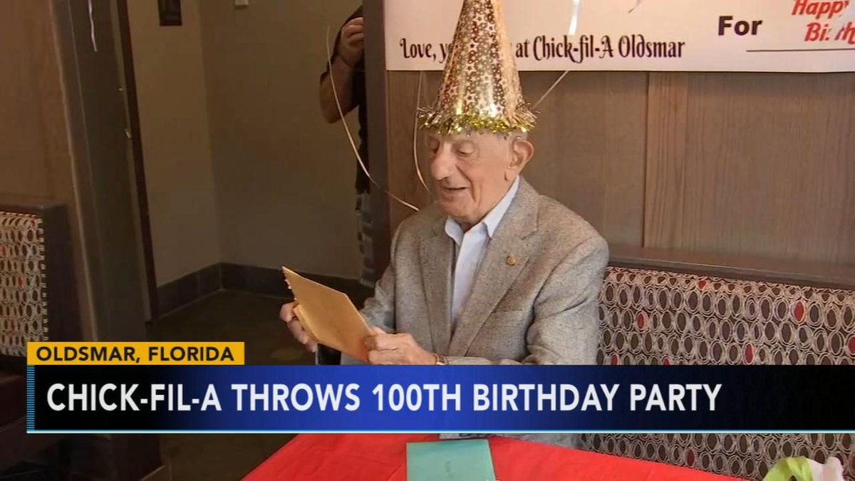 .@ChickfilA surprises man for his 100th birthday with free food for life  https://t.co/a6Ea5xrchD