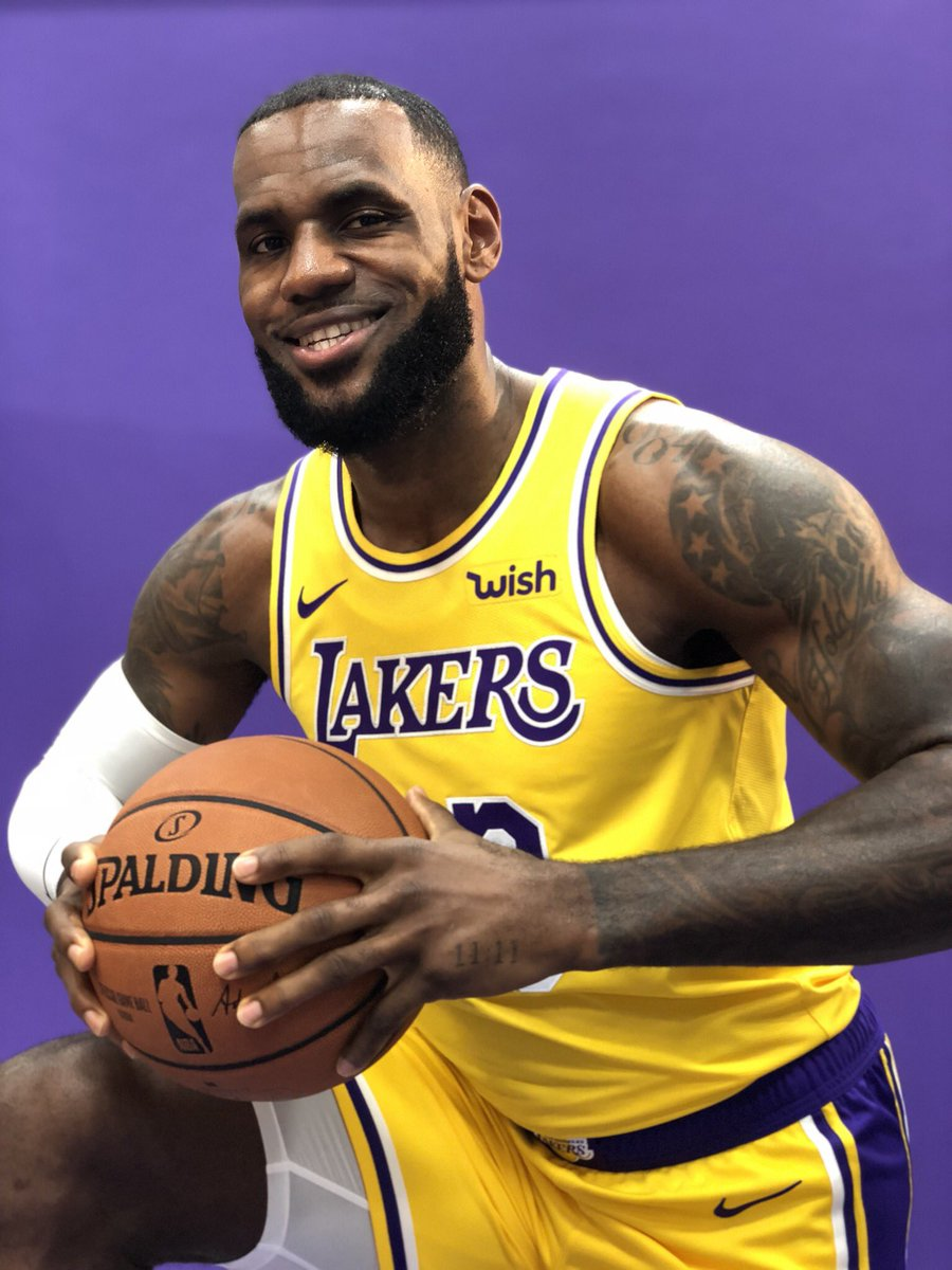 .@KingJames in the purple and gold 👀👑  #NBAMediaDay  (📸: @NBA)