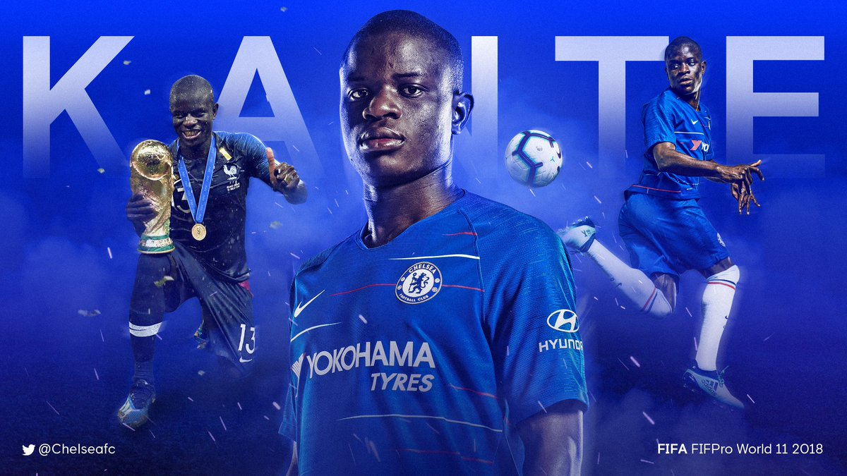 Congratulations to @nglkante who has been named in the FIFA FIFPro World 11 2018! 👏  What a year for the Frenchman! 🇫🇷 #FIFAFootballAwards