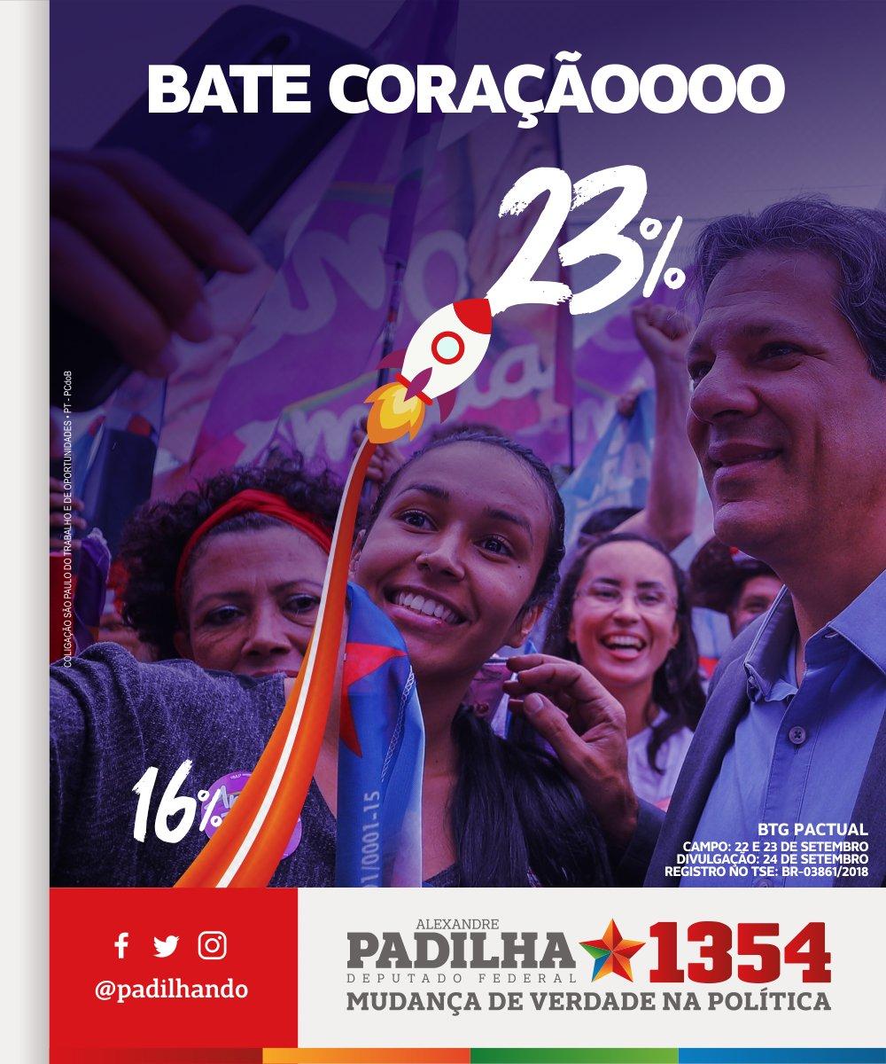Mais um salto de crescimento do Haddad. Já são mais sete pontos percentuais em uma semana, de acordo com a pesquisa BTG Pactual. Bate coração! Agora é 13! Haddad é Lula, Lula é Haddad!  #HaddadÉLula #Padilha1354 #MudançaDeVerdade00