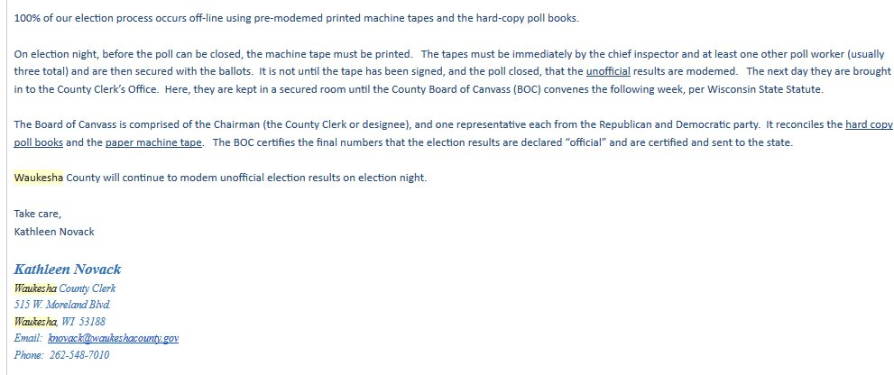 Waukesha has already advised that it WON&#39;T remove its cellular modems. My email above is intended to confirm that Waukesha&#39;s unofficial/modem&#39;d voting machine results don&#39;t automatically become the &quot;official&quot; ones w/o the public&#39;s ability to confirm no hacking occurred. 5/ <br>http://pic.twitter.com/h1I36vo3CB
