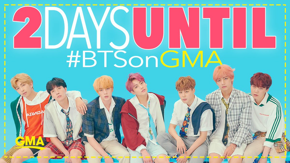 TWO. DAYS.   ...until #BTSonGMA!   They perform LIVE, in-studio, Wednesday! @BTS_twt #BTS https://t.co/hOA4cZh95s