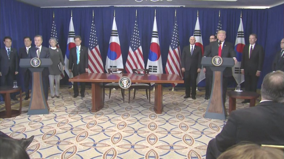 US and South Korean delegations gather for signing of new Free Trade Agreement. Pres Trump calls it 'a very big deal' and 'a historic milestone in trade.' Says it will dramatically increase the amount of farm products and automobiles the US can sell in South Korea.
