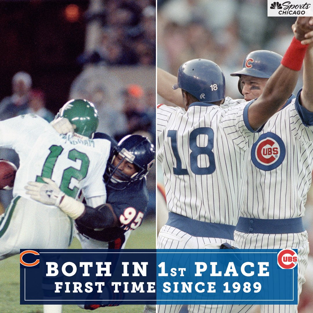 FUN FACT!  The #Bears and #Cubs are both alone in 1st place for the first time since 1️⃣9️⃣8️⃣9️⃣.