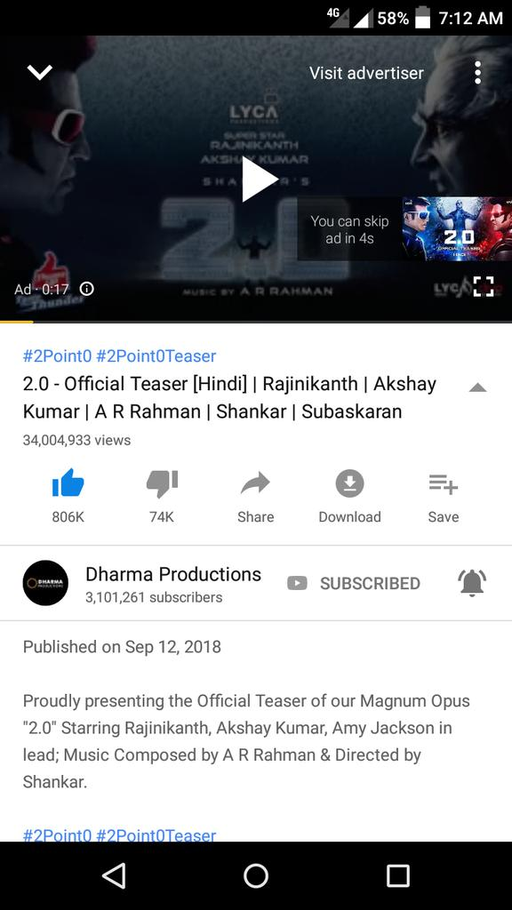 #2Point0 Hindi teaser gross 34Milion Viewers with 806K likes  35Milion coming very Soon<br>http://pic.twitter.com/0qLEtL1vXU
