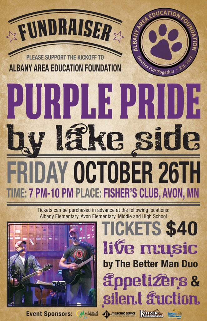 Join us for the second annual Purple Pride by Lake Side fundraising event. This evening of socializing will feature heavy apps., silent auction and raffles, music by The Better Man Duo and will positively impact the education of students in the Albany Area School District. <br>http://pic.twitter.com/gRlUwIudEu