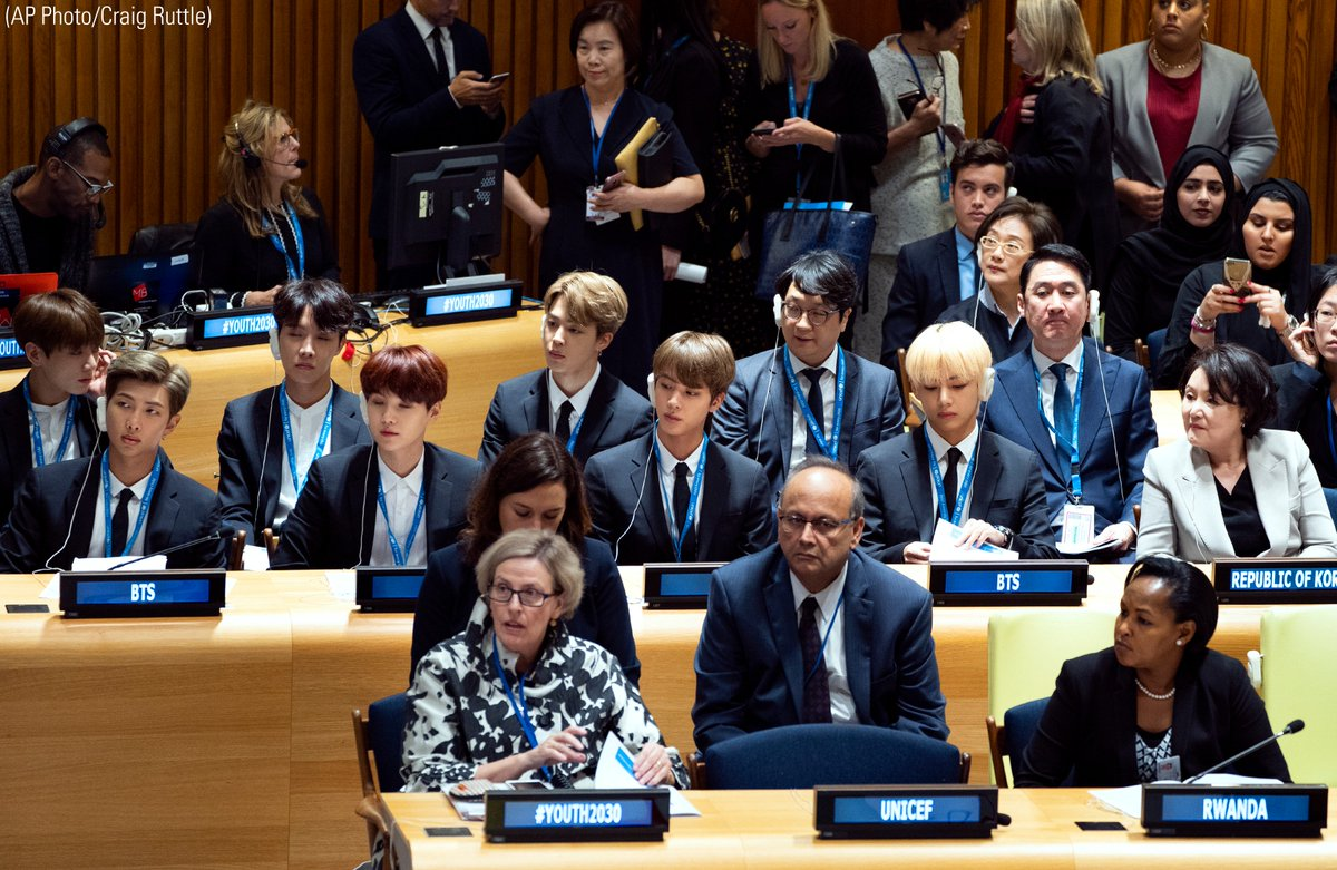 Members of the Korean K-Pop group @bts_bighit (center row) attended a high-level meeting on youth during the @UN General Assembly Monday.