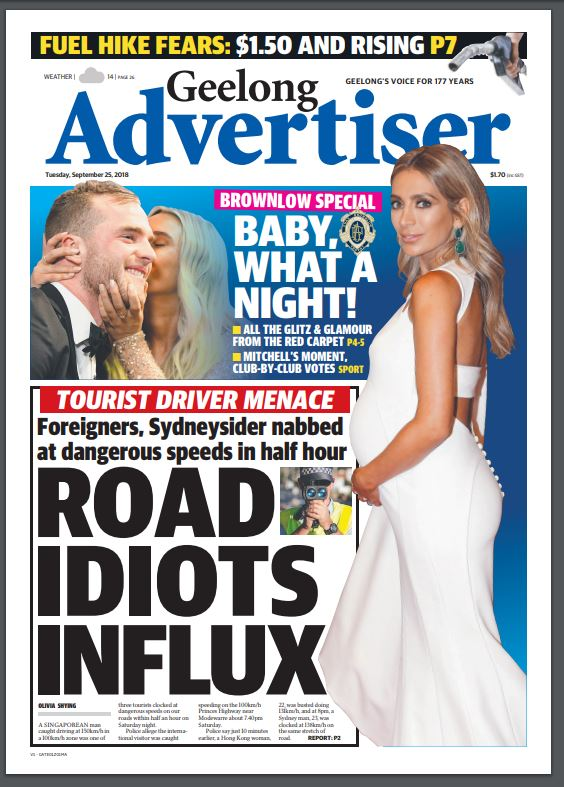 Geelong Advertiser On Twitter Good Morning Geelong Here S Today S Page One Speeding Drivers And A Wrap Of The Brownlow Top Of 14 Today