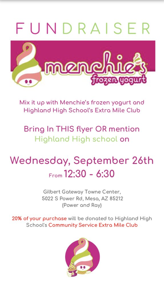 hey highland kids come support the extra mile club at menchies on wednesday ! proceeds will go to fundraising for the food drive !  #hawksagainsthuger @Highland_Hawks<br>http://pic.twitter.com/YB9yfvGbNC