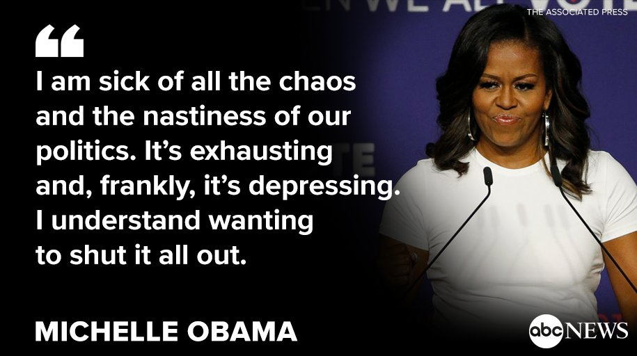 """Former first lady Michelle Obama voices her personal frustrations with the current political climate and calls out """"the nastiness of our politics."""" https://t.co/IqEXaUuyyG"""