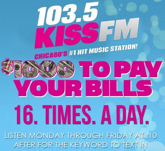 Kiss fm $1000 giveaways