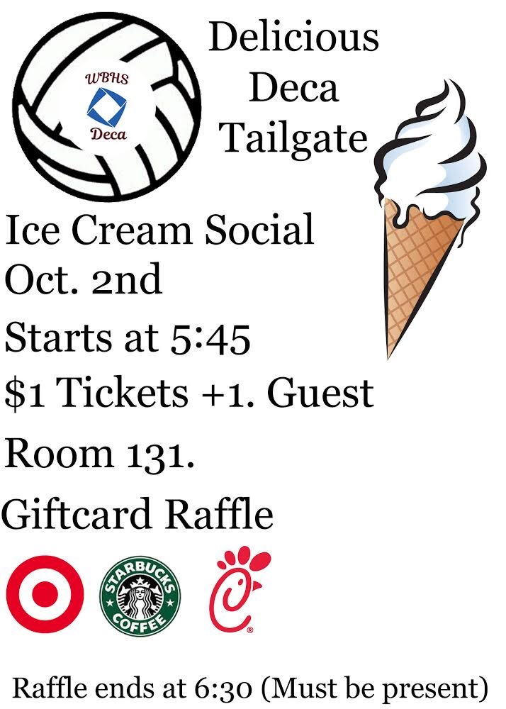 DECA MEMBERSMark your calendars 4 our DECA ice cream social before the volleyball game Oct 2nd! Tickets $1 (good for you + 1 guest) Enter your name into a drawing for chance to win a gift card. MUST BE PRESENT DURING DRAWING TO WIN! See your marketing teacher to buy a ticket! <br>http://pic.twitter.com/epi1CJ8XXh