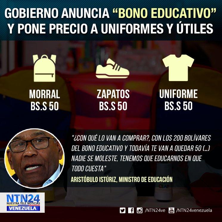 """[#LoMásVisto] Gobierno otorgará """"bono educativo"""" de Bs S 200 para compra de uniformes https://t.co/UXZuynRxpx"""