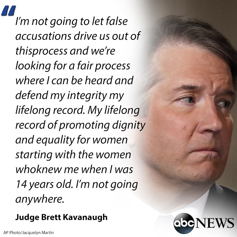 """Brett Kavanaugh speaks out in emotional interview with Fox News, saying,  'I've never sexually assaulted anyone ' and insisting,  'I'm not going anywhere.https://t.co/sXJNgiHcya"""""""