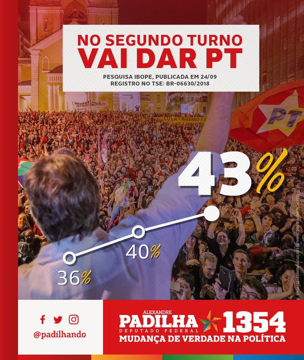 Vai dar PT! Vai segurando o foguete Haddad. Pesquisa Ibope mostra Haddad presidente no 2º turno com 43% de preferência. Voto útil é o voto no melhor! Lula é Haddad, Haddad é Lula!  #HaddadÉLula #Padilha1354 #MudançaDeVerdade