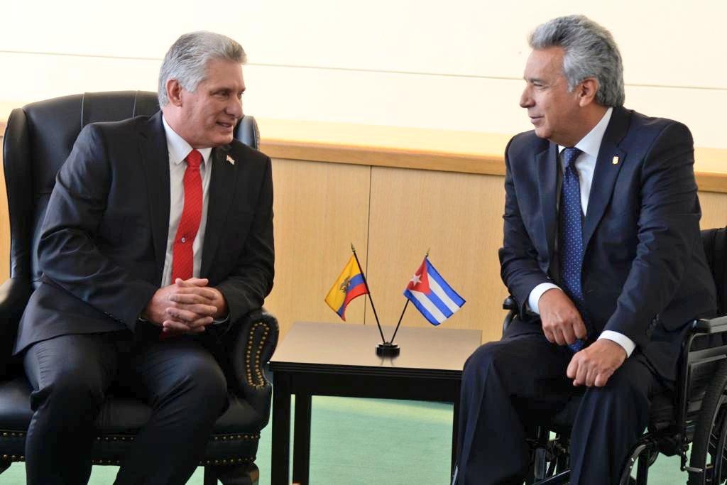 Díaz-Canel se reunió con Lenin Moreno
