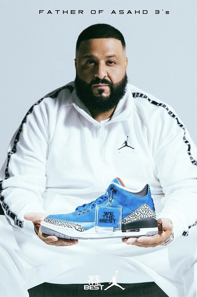 """.@djkhaled just unveiled new """"Father of Asahd"""" and """"Another One"""" Air Jordan 3s 🔑🔑🔑"""