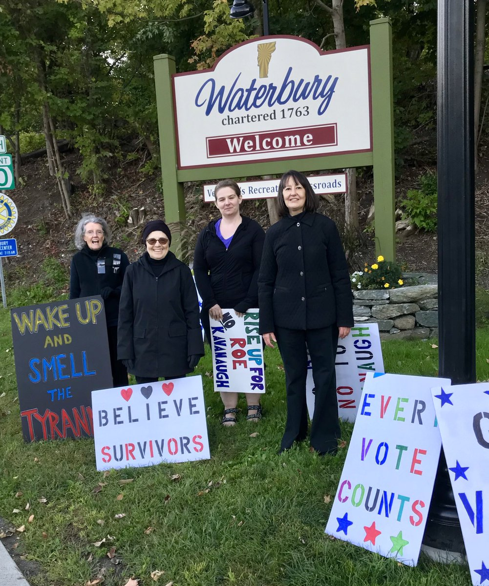 #StandOnEveryCorner  Waterbury, VT Day 31.  What a day. What insanity.  We were five women and one cuckoo red dog tonight. We were all in black in honor of Dr. Ford and survivors everywhere.  #BelieveSurviviors  #StopKavanaugh  Please. Stop. Kavanaugh.<br>http://pic.twitter.com/uKFkkmgFmA