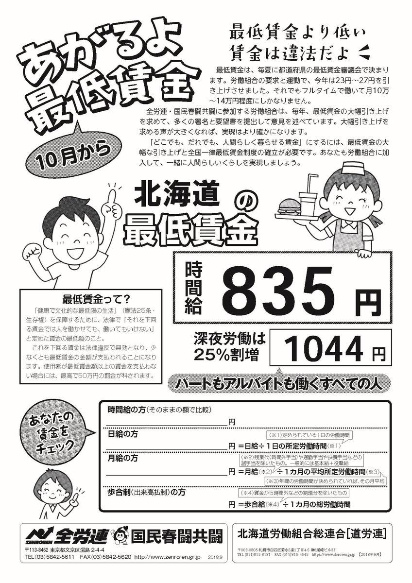 賃金 北海道 最低