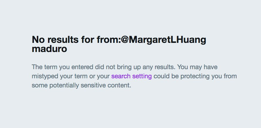 Out of her 2,165 tweets since 2011, this is how many times Amnesty International USA chief Margaret Huang has mentioned the name of Venezuela&#39;s murderous dictator Nicolas Maduro: <br>http://pic.twitter.com/KlxGABnKnC
