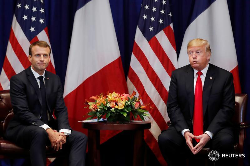 France's President Emmanuel Macron and U.S. President Donald Trump react as they hold a bilateral meeting, and more scenes from inside the United Nations General Assembly: http://reut.rs/2PVDoyU  📷 @ReutersBarria #UNGA