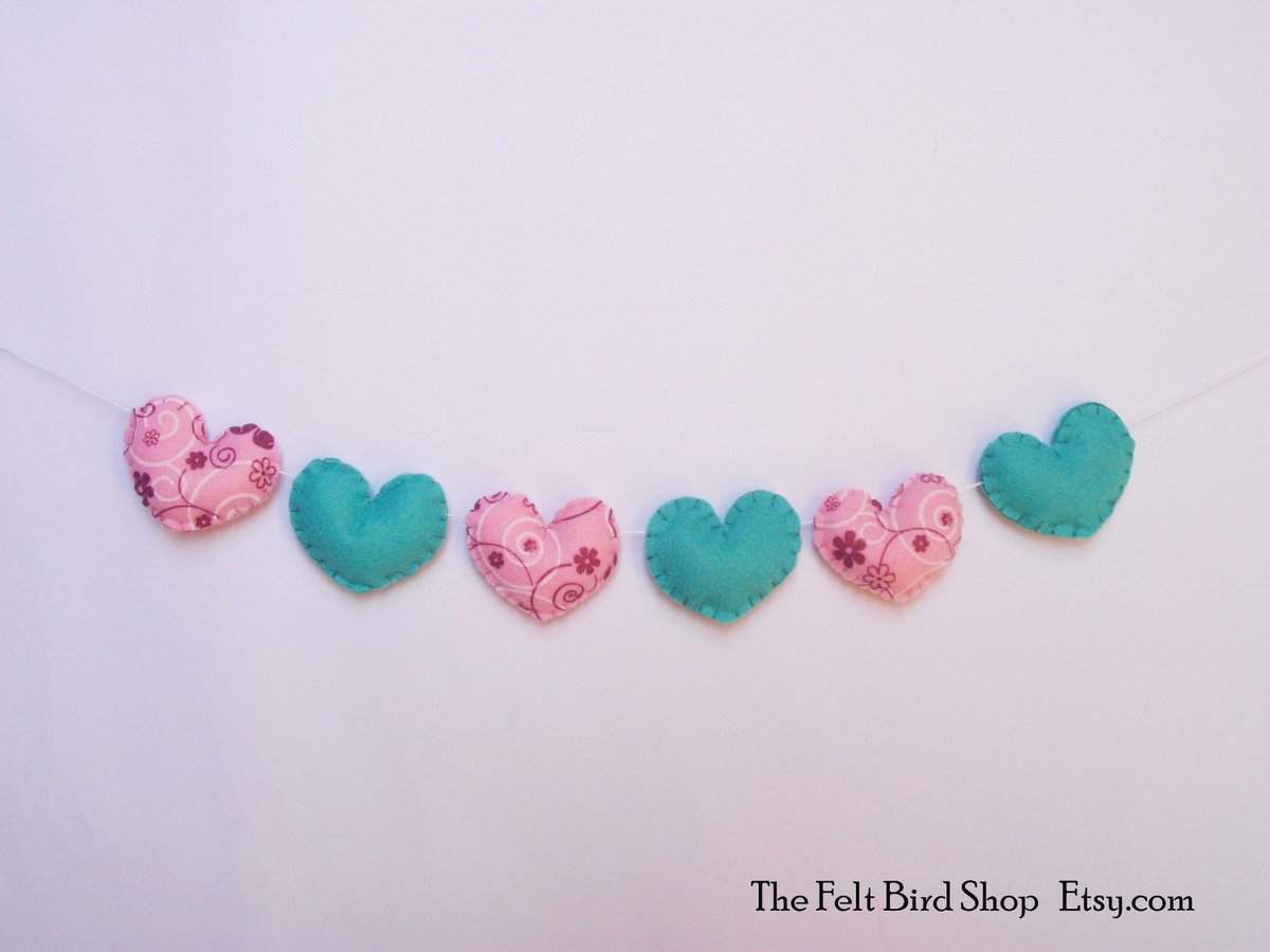 "Verde Acqua E Rosa the felt bird shop✝️🇮🇹 on twitter: ""cute hearts garland"