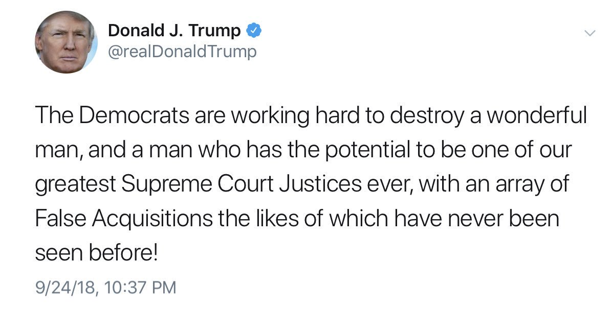 The Democrats are apparently making &#39;false acquisitions&#39;, according to Loopy Don, the Big Cheezel.   * here&#39;s the deleted tweet: <br>http://pic.twitter.com/rN1jpReLH1