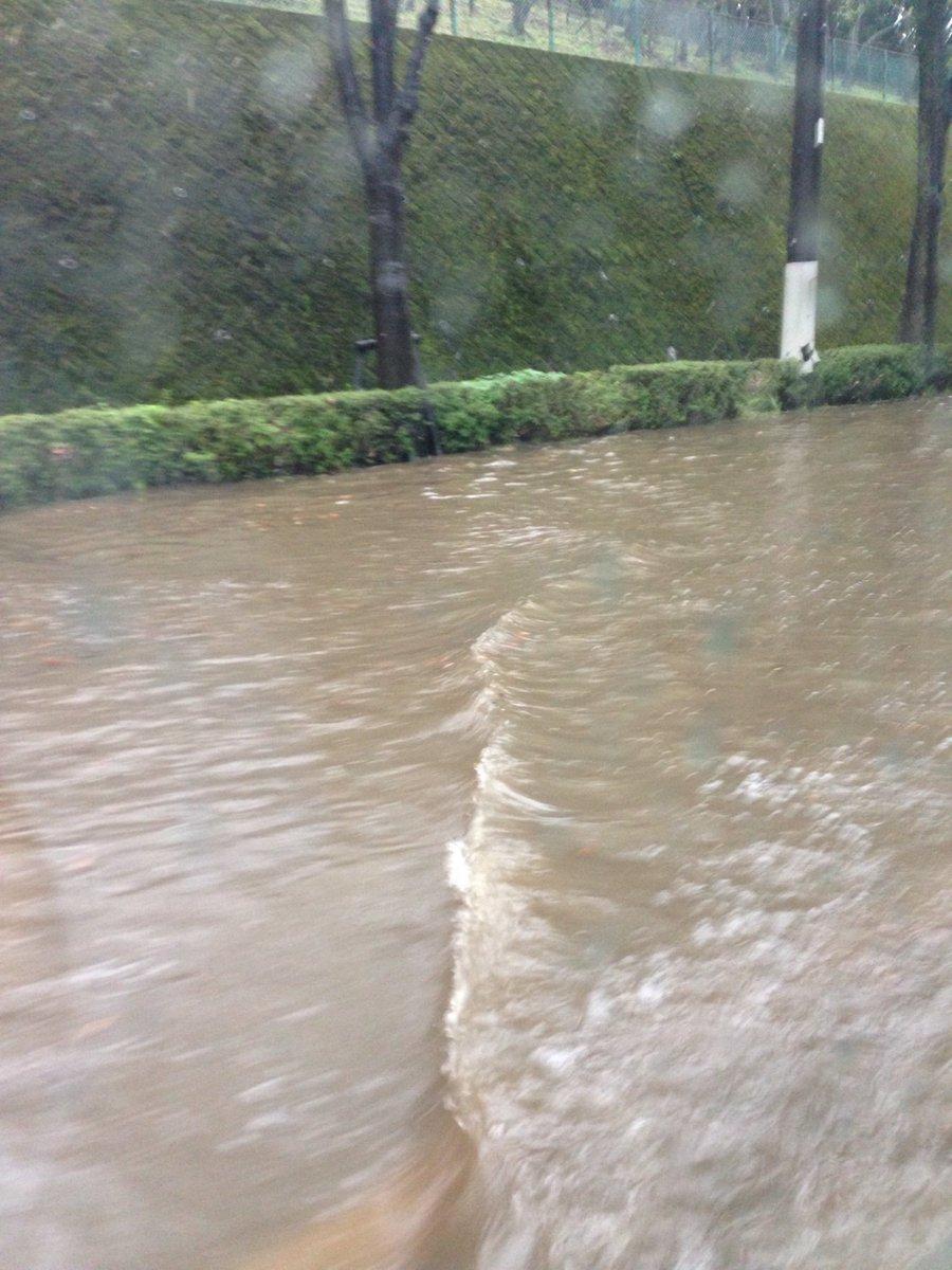 八王子市がゲリラ豪雨で冠水している現場の画像