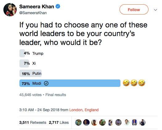 She&#39;s self-confessed fan of Bhutto Sr, Xi of China and Putin !!  Kya soch ke poll kiya tha?   @SameeraKhan<br>http://pic.twitter.com/f7c7XlBwTK