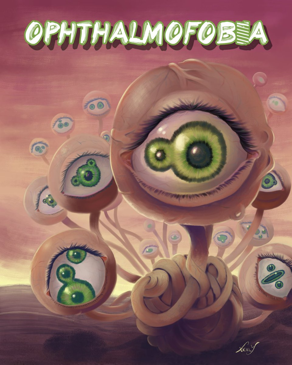 I made this for a #phobia drawing contest, I chose Ophthalmophobia the fear of being stared at. At the end the person who holded the contest never announced a winner but I had fun doing it. #ophthalmophobia #GreenEyes #CLIPSTUDIOPAINT <br>http://pic.twitter.com/BvT74BNqwX