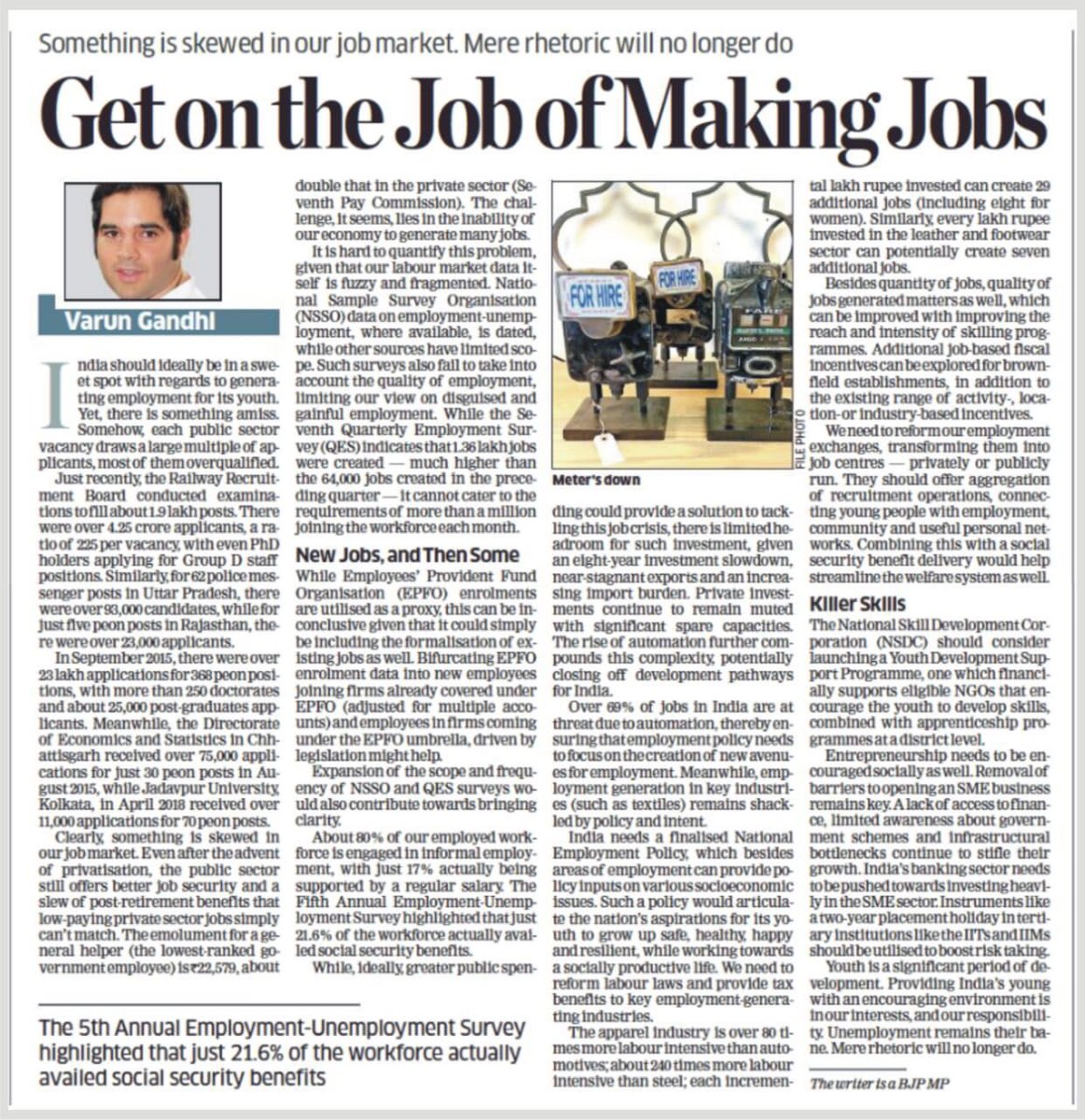 India should ideally be in a sweet spot with regards to generating employment for its youth. Yet, there is something amiss. My article in The Economic Times, today, on why providing India's young with employment is in our interests, and our responsibility.  https:// blogs.economictimes.indiatimes.com/et-commentary/ get-on-the-job-of-making-jobs/?_ga=2.45596644.119230455.1537845966-amp-9cO7m4-WU8tV-1i8Ehn5FM9CzMuk1i4KQeguLI17foBguOKmSI7woThZjHxyr5vc &nbsp; … <br>http://pic.twitter.com/JitWYzYnKR