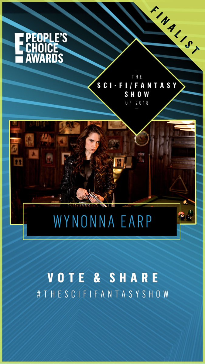 "Can't think of a show that is more ""for the people"" than @WynonnaEarp #Earpers - you did it! #WynonnaEarp is a finalist in the #PCAs! Vote for Wynonna by tweeting #WynonnaEarp, #TheScifiFantasyShow #PCAs AND vote here thru Oct 19th:  http:// pca.eonline.com/#vote/cat26  &nbsp;   Let's win this! <br>http://pic.twitter.com/d5Dln4vawB"