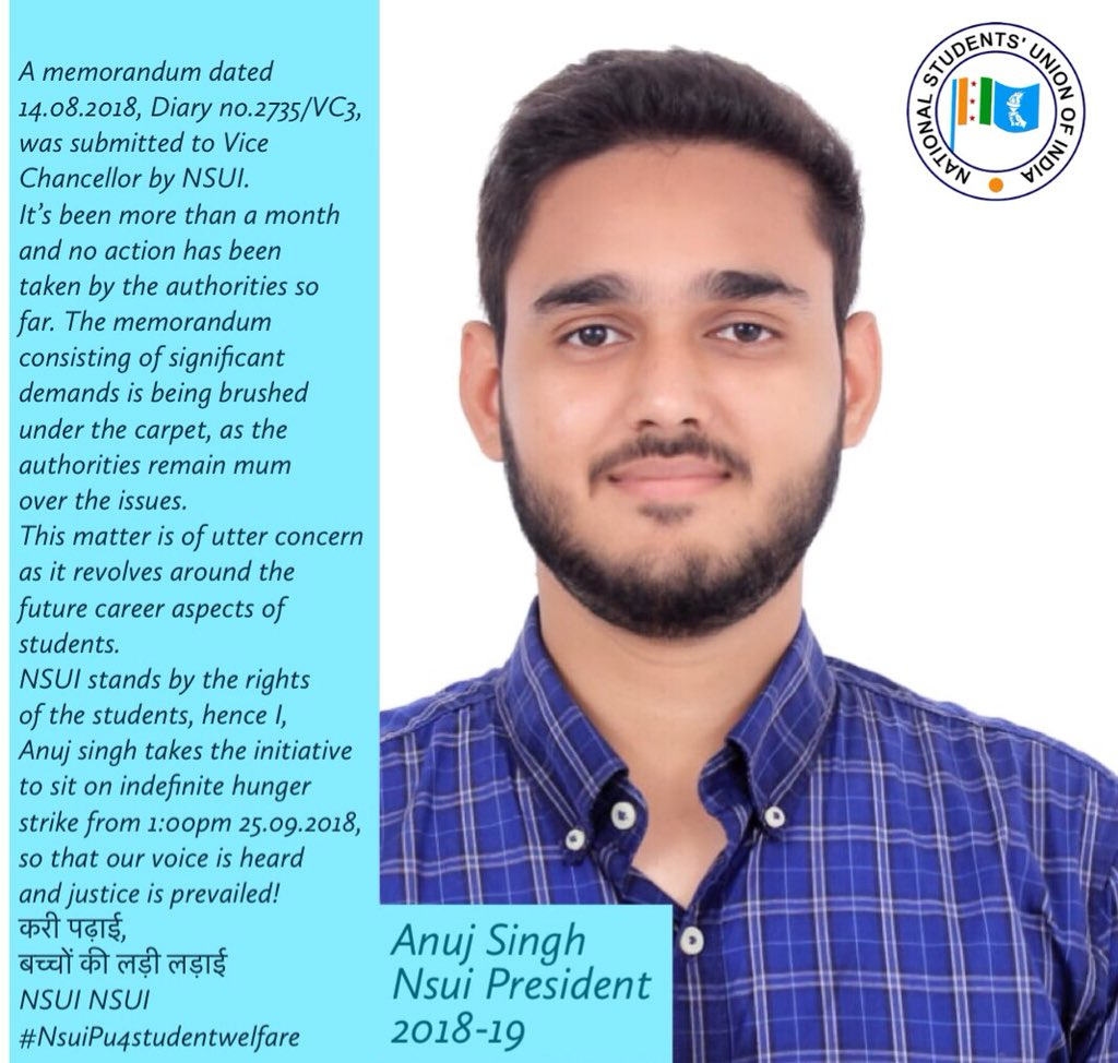 A memorandum dated 14/08/18, Diary no.2735/VC3, was submitted to Vice Chancellor by @nsui stands by the rights of the students,hence I @singh15anuj takes the initiative to sit on indefinite hunger strike.@guptar  करी पढ़ाई, बच्चों की लड़ी लड़ाई  NSUI NSUI  #NsuiPu4studentwelfare<br>http://pic.twitter.com/IXP8U0h24P