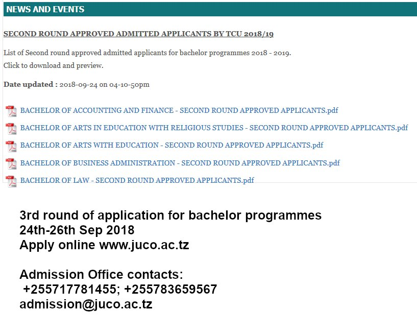 Lists of 2nd round approved by TCU applicants for bachelor programs is available on our website www, http:// juco.ac.tz  &nbsp;   #JUCO #Morogoro #Tanzania #education #GainWithXtianDela #TrapaDrive #1DDrive #MGWV #500pxrtg<br>http://pic.twitter.com/sZ7D02ykVR
