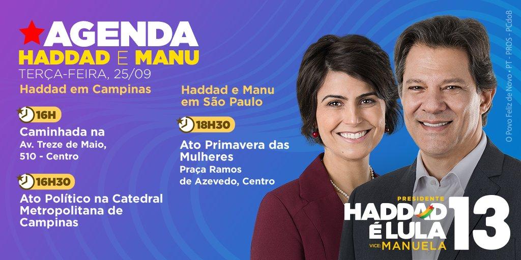 Tem evento especial com as mulheres e muito mais! Saiba agora por onde vão andar Haddad e Manu, nesta terça, 25 de setembro! #HaddadÉLula