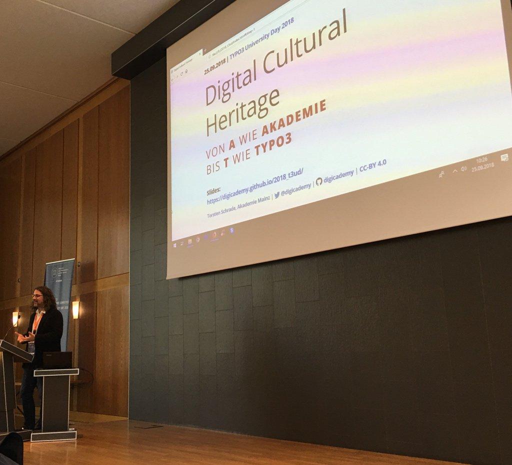 RT @MarcusSchwemer: Keynote von Torsten Schrade der @digicademy : Digital Culture Heritage #T3UD18 https://t.co/F9jDkO8tRa