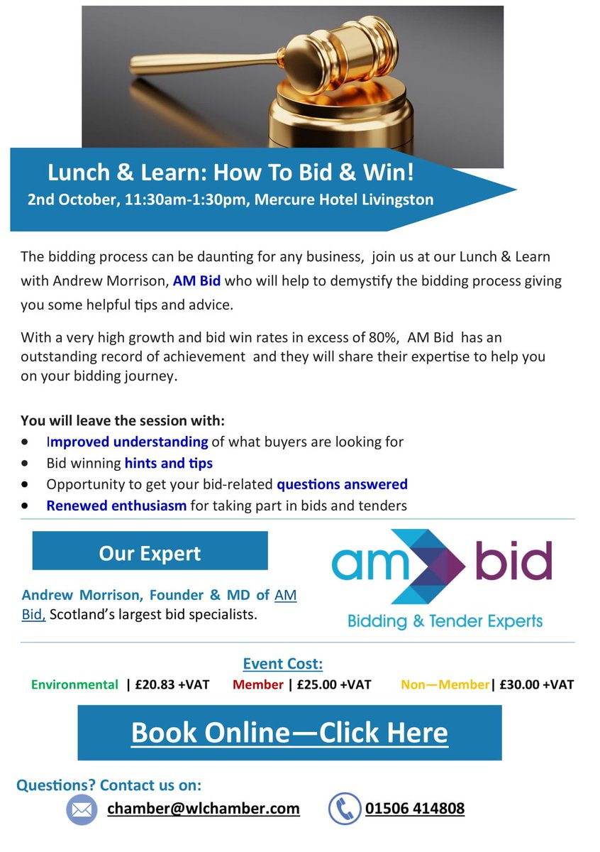 Image for Great event coming up with the @wl_chamber and @AMBidServices!  Head along to Lunch and Learn on the 2nd of October at 11:30. https://t.co/bOiIRfbg3s