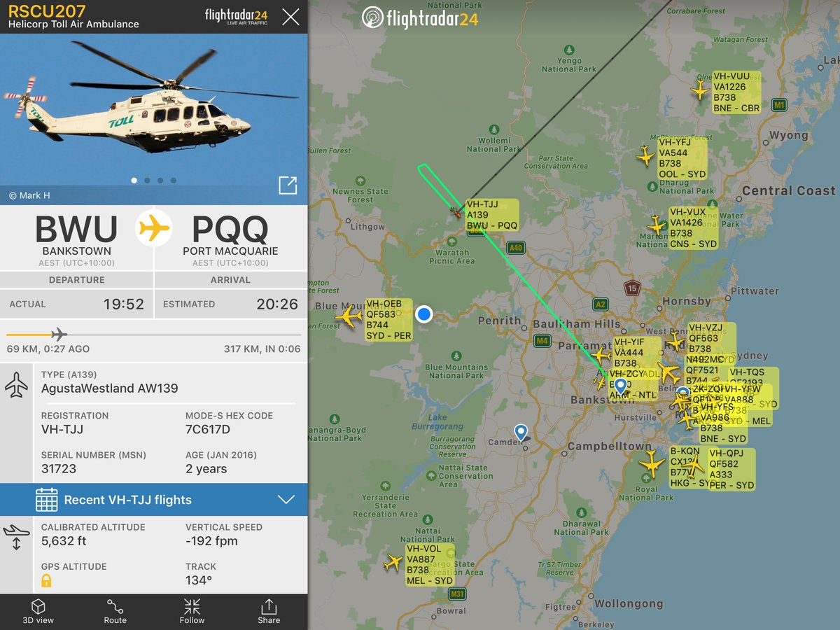 Hmmm. I think Rescue 207 has just given up getting to Port Macquarie.