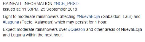 RAINFALL INFORMATION #NCR_PRSD Issued at: 11:33PM, 25 September 2018