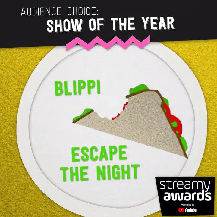 #streamys audience choice: show of the year nominees: 〰️ @BlippiOfficial 〰️ @EscapeTheNight 〰️ @TheF2 〰️ Good Mythical Morning @rhettandlink 〰️ @PhillyD 〰️ REACT (@FBE) 〰️ @RoosterTeeth 〰️ @tryguys 〰️ Yappie (@wongfupro) 〰️ @TheYoungTurks