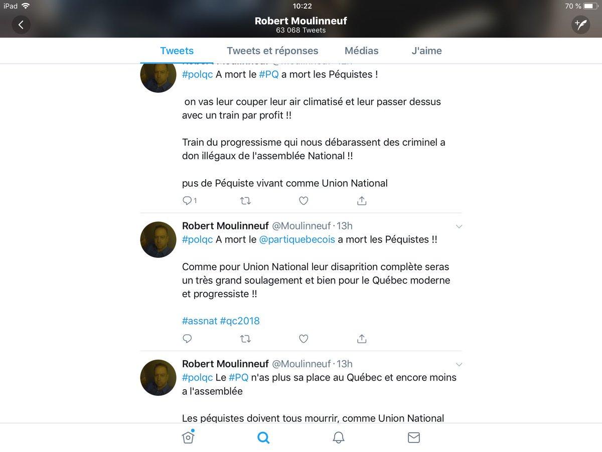 Parlant «lançage de bouette» dont fée @ManonMasse_Qs ne veut pas, sait-elle, savez-vous @GNadeauDubois, que le king de vos fans @Moulinneuf, oui oui celui avec qui vs bavardez gentiment ici, lance des menaces de mort aux indépendantistes (les vrais #PQ) sur Twitter? #Quebec2018